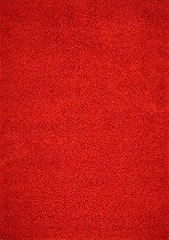 Shaggy Area Rugs Soft Touch Stain-Resistant Easy Care Carpet Solid Color Shag Area Rugs (5'x7', Bright - Red Shag Carpet