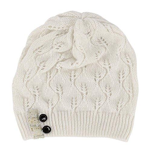 [PAAT SHOP Women Winter Warm Beret Braided Baggy Knit Crochet Beanie Hat Ski Cap (White)] (Jumbo Hip Hop Adult Hat)