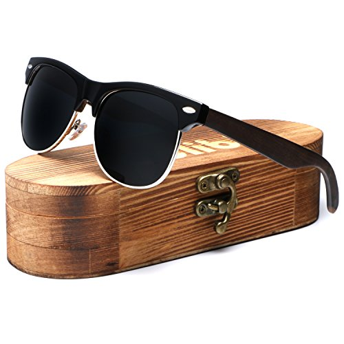 Ablibi Bamboo Wood Semi Rimless Sunglasses with Polarized Lenses in Original Boxes (Ebony, (Clubmaster Style Sunglasses)