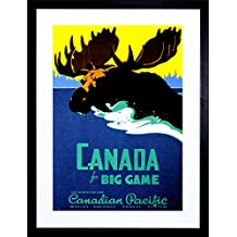 VINTAGE TRAVEL CANADA MOOSE BIG GAME NEW FRAMED ART PRINT PICTURE F12X1807