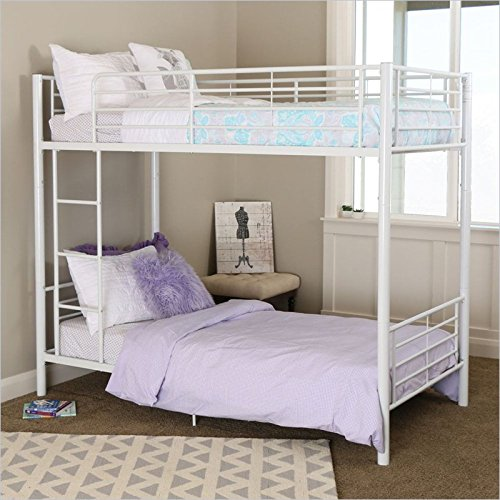 (New Sunrise Metal Twin-over-Twin Bunk Bed in White Finish)