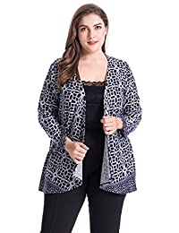 Chicwe Women's Border Designed Cashmere Touch Plus Size Cardigan Style Jacket 1X-4X