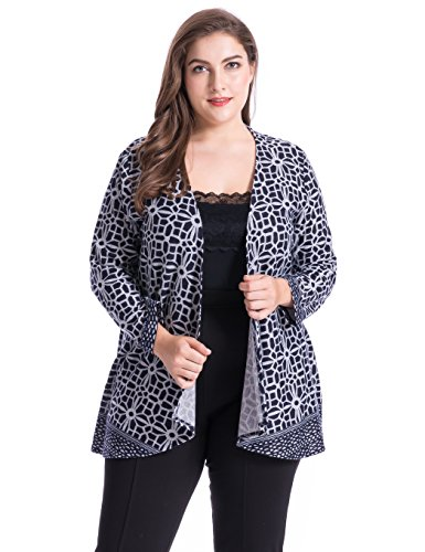 Chicwe Womens Plus Size Cashmere Touch Floral Printed Cardigan Style Jacket - Open Front Casual Jacket