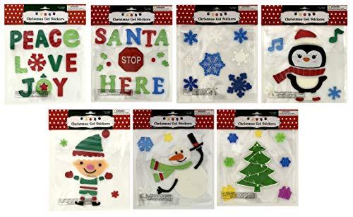 (Christmas Winter Gel Sticker Window Clings Decor Bundle of 7 Packages)