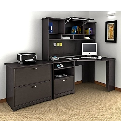Cabot Corner Desk with Hutch and Lateral File Cabinet by Bush Furniture