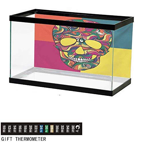 - wwwhsl Aquarium Background,Sugar Skull,Colorful Calavera Themed Artwork Catrina Day of The Dead Mexican Culture Theme,Multicolor Fish Tank Backdrop 24