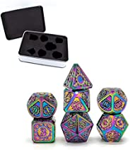 Metal Dice Metal Case, SZHO Steampunk Style Metal Dice Set,7 PCS Metallic Role-Playing DND Game D&D Dice w