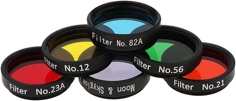 VBESTLIFE Teleskop Filter Set 6PCS 1,25 Zoll Bunte Teleskop Okular Filter mit Aufbewahrungsbox