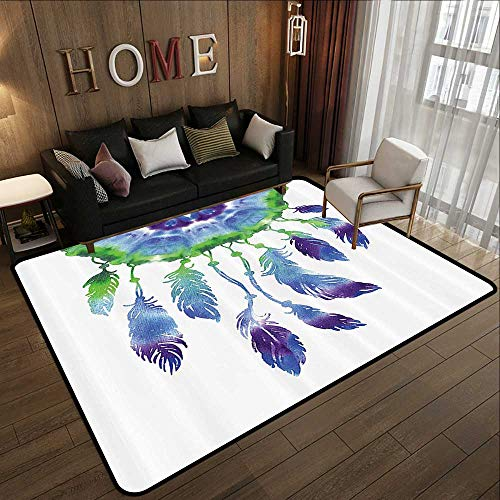 Bathroom mats and Rugs,Native American Decor Collection,Dreamcatcher with Bird Feathers in Watercolor Painting Effect Ethnic Style,White Teal G 63