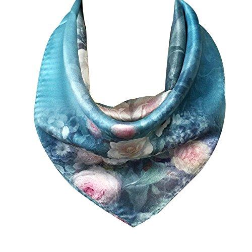 - Wrapables 100% Charmeuse Silk Square Scarf Neckerchief, Roses on Aqua