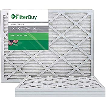 FilterBuy 20x25x1, Pleated HVAC AC Furnace Air Filter, MERV 8, AFB Silver, 4-Pack