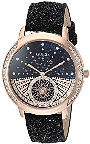 GUESS Women's Quartz Stainless Steel and Leather Casual Watch, Color:Black (Model: U1005L2)
