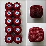 6 PLY STRAND - TURKEY RED - Lot Set of 10 - 100% Cotton Yarn Thread - Crochet Lace Knitting Embroidery Cross Stitch (10 Balls - 100 Grams)