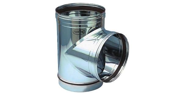 Empalme a T para Tubo Estufa de acero inoxidable Piemme Speedy Art.09a 90° diámetro 200mm: Amazon.es: Bricolaje y herramientas