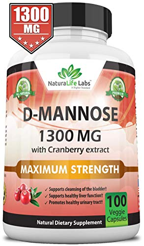 D-Mannose 1,300 mg with Cranberry Extract Fast-Acting, Flush Impurities, Natural Urinary Tract Health- 100 Veggie Capsules D-mannose Urinary Tract Infection