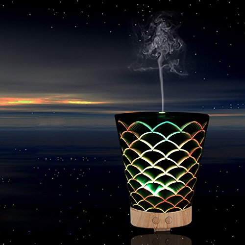 Jshq Aroma Essential Oil Diffuser Waterless Auto Shut-off 3d creative aromatherapy humidifier, tapered fish pattern, dual (Pattern Crystal Table Lamp)