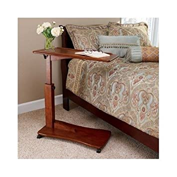Wooden Bedside Eating Reading Study Table With Adjustable Height  Walnut  Finish