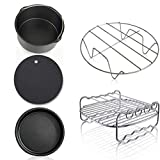 Air Fryer Accessories, 5Pc/Set Air Fryer Accessories Kit Frying Cage Dish Baking Pan Rack Pizza Tray Pot Accessories With Recipe for Baking Cakes Bread