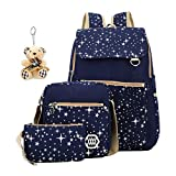 ABage Canvas Backpack Set 3 Pieces Patterned Bookbag Laptop School Backpack, Blue