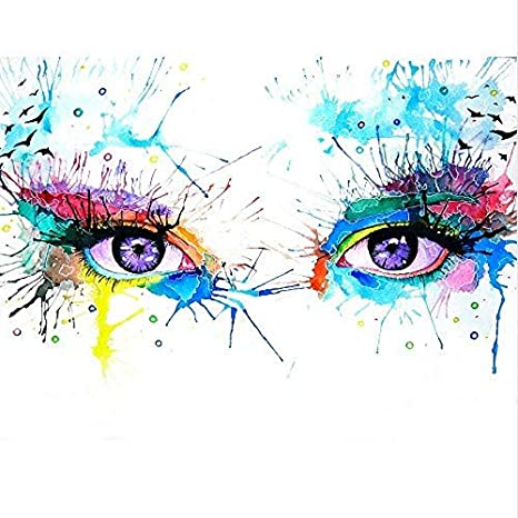 Oil Painting Color Big Eyes Canvas Painting Acrylic Graffiti Wall Art for Living Room Home Decoration,16 20 inch,Frameless DIY Painting