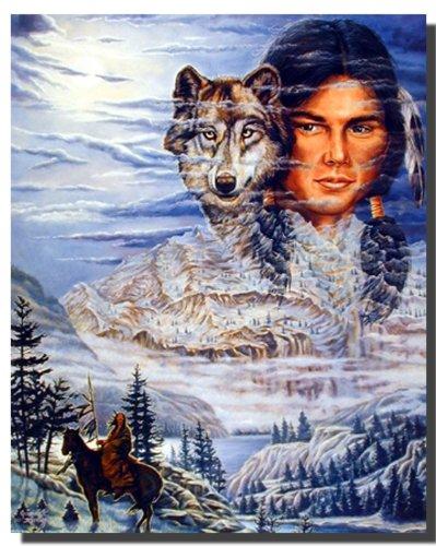 Native American Wall Decor Brave Wolf Art Print Poster (16x20)
