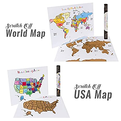 Amazon Com Usa World Scratch Off Map Bundle Includes 2 Individual Watercolor Pastel Travel Tracker Maps United States World Track Countries Us