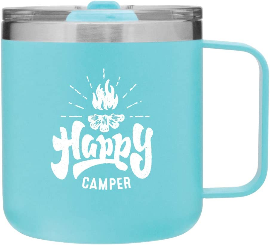 Matte Orange 12 oz Happy Camper Vacuum Insulated Travel Mug with Lid by MugHeads Double wall insulation keeps coffee hot up to 8 hours