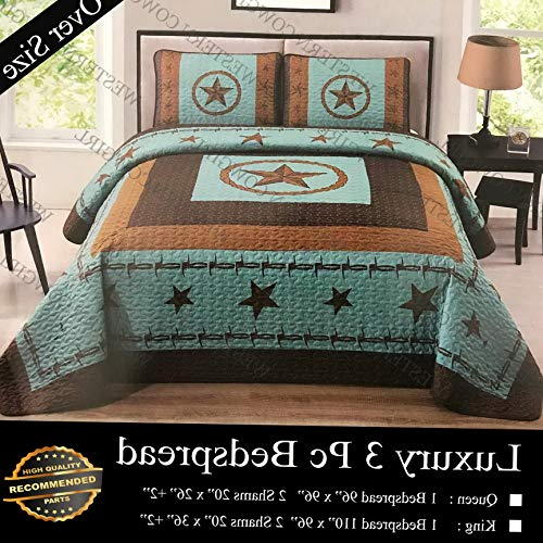 Werrox Western Texas Rustic Star Barb Wire 3 Piece Quilt Bedspread with 2 Pillow Shams | Queen Size | Quilt Style QLTR-291265585