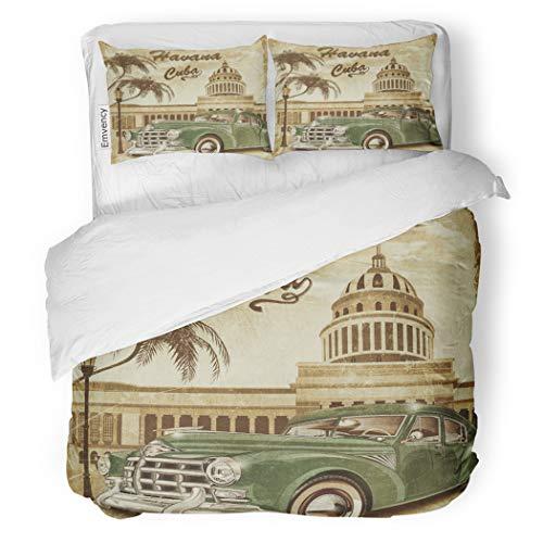 (SanChic Duvet Cover Set Havana Cuba Retro 1950S 1960S 1970S Aged Auto Decorative Bedding Set with Pillow Case Twin Size)