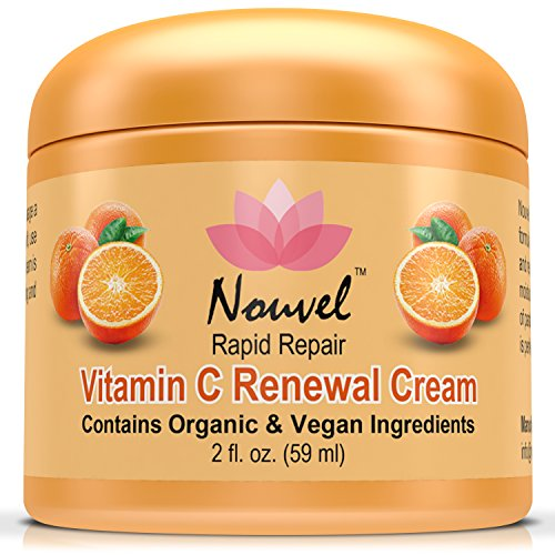 Nouvel Vitamin C Renewal Cream Vegan Face Moisturizer & Hand Cream with Certified Organic Ingredients, 2 fl. (Plus Antioxidant Face Cream)