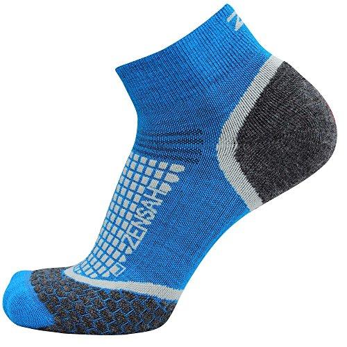 Zensah Wool Running Socks - Comfortable Grit Ankle Athletic Sport Sock - Moisture Wicking, Anti-Blister,Sporty Blue,Medium