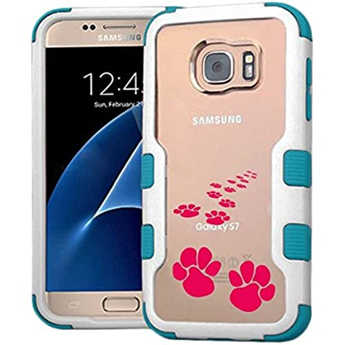 Galaxy S7 Case Animal Footprint Pink, Extra Shock-Absorb Clear back panel + Engineered TPU bumper 3 layer protection Sales