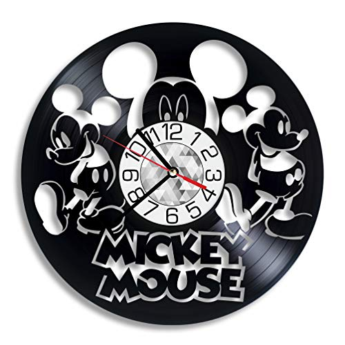 Mickey Mouse Disney Vinyl Clock - Wall Art Home Room Decor Handmade Decoration Party Supplies Theme Stuff Birthday Gift Vintage Modern Style - Home Mickey Mouse