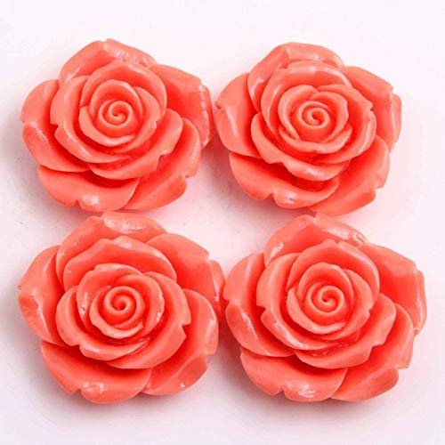 Calvas 42mm 50pcs a lot Colorful Acrylic Big Resin Flower Beads for Girls Chunky Necklace Jewelry - (Color: Coral)