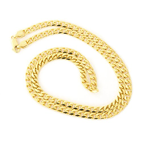 Beauniq Men's Solid 14k Yellow Gold 4.5mm Heavy Miami Cuban Link Chain Necklace, 22