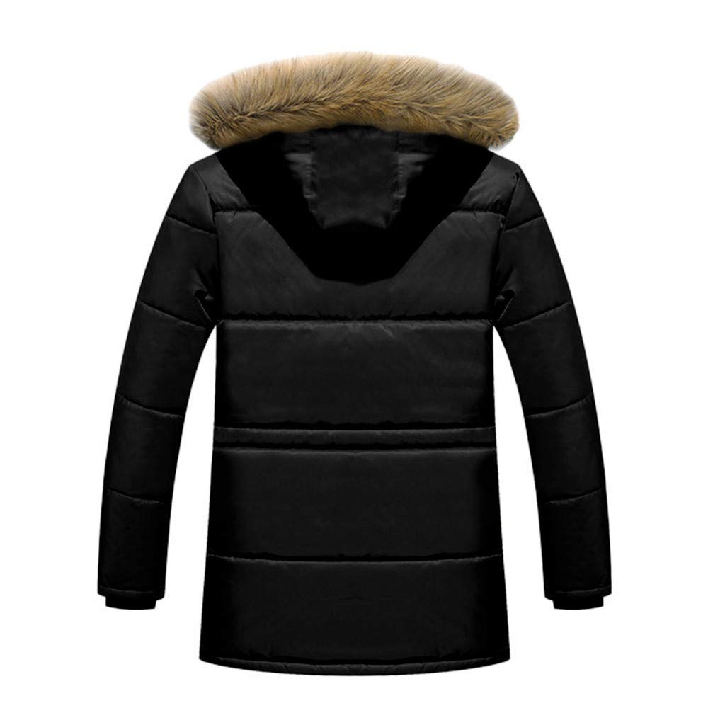 Teresamoon Men Winter Warm Hooded Zipped Thick Solid Fleece Coat Cotton-Padded Jacket (Most Wished & Gift Ideas) by Teresamoon-Coat (Image #1)