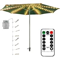 DreiWasser Patio Umbrella Lights (Newest Version), 8 Strings 8 Modes 104 LED Warm White Lights with Remote Control Outdoor/Indoor Waterproof (Batteries Not Included) (Battery-Powered)