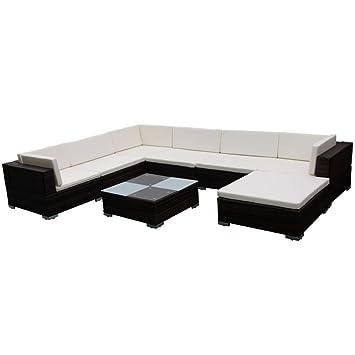 vidaXL Conjunto de Muebles de Jardín 24 Piezas Poli Ratán Color Marrón y Blanco