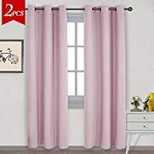 NICETOWN Home Thermal Insulated Curtains - Solid Triple Weave Microfiber Blackout Drapes with Ring Top for Nusery (1 Pair,42 x 84 Inch in Baby Pink)