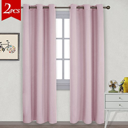 NICETOWN Nursery Essential Thermal Insulated Solid Grommet Top Blackout Curtains/Drapes (1 Pair,42 x 84 Inch in Baby Pink) (Window Pink Curtain)