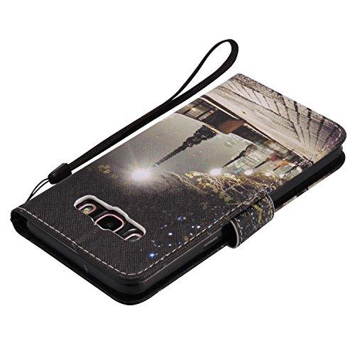 PU para Galaxy J5(2016) J510funda Flip cover de piel para Galaxy J5(2016) J510Flip Cover Funda Libro Con Tarjetero Función Atril magnético + Polvo Conector morado 2 7