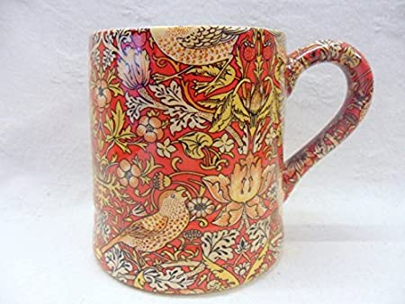 Set of 2 China Palace Mugs in vintage William Morris black and red birds tapestry design