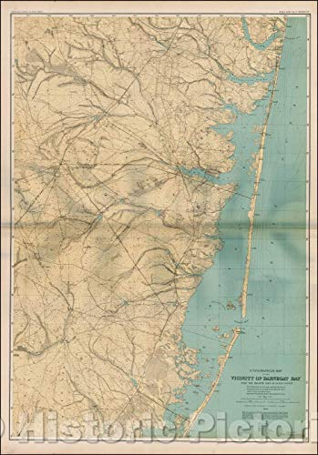 (Historic Map | A Topographical Map of the Vicinity of Barnegat Bay with hte Greater Part of Ocean County, 1886, Geological Survey of New Jersey | Vintage Wall Art 24in x 36in)