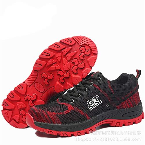 Zhrui De 40 Calzado Resistente Negro Eu Compuesto Hombre El Para Antideslizante Rojo Acero color Tamaño Trabajo rHrwnAqUR