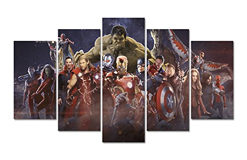LMPTAR Framed 60x32inches Print 5 panels Avengers Infinity W