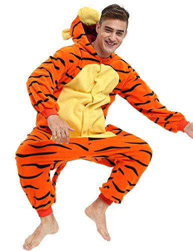 Es Unico Tigger Onesie Adult, Halloween Animal Pajama Costume for Women, Men and Teens. Large