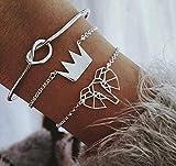 Hollowed Elephant Crown Three-Piece Bracelet