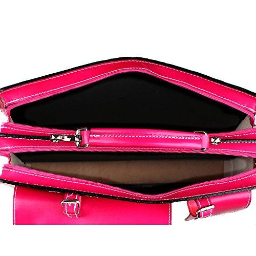 Unisex Aktentasche, Business Handtasche mit Schulterriemen aus echtem Leder Made in Italy Chicca Borse 38x29x11 Cm Fuchsie