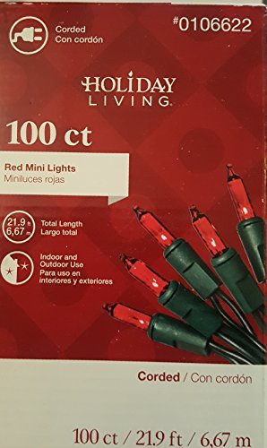 Holiday Living 100 Count Christmas Mini Lights, Red, Indoor / Outdoor
