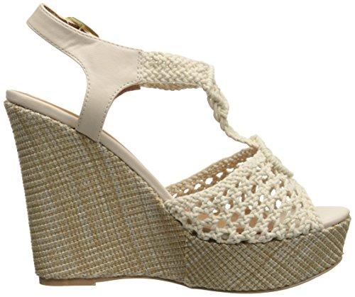 Qupid Women's Clemence-93 Wedge Sandal Ivory 5uGeUA8e